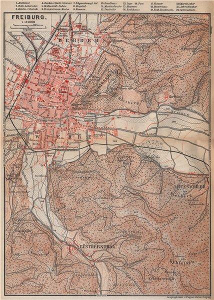 Associate Product FREIBURG town city stadtplan & umgebung. Gunterstal. Baden-Württemberg 1896 map