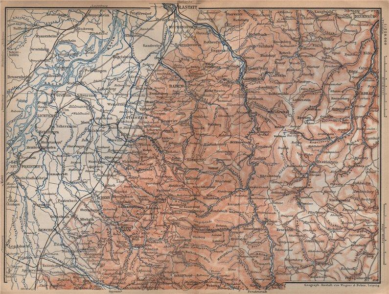 Associate Product NORDSCHWARZWALD. NORTHERN BLACK FOREST. Baden-Baden Wildbad. Germany 1896 map