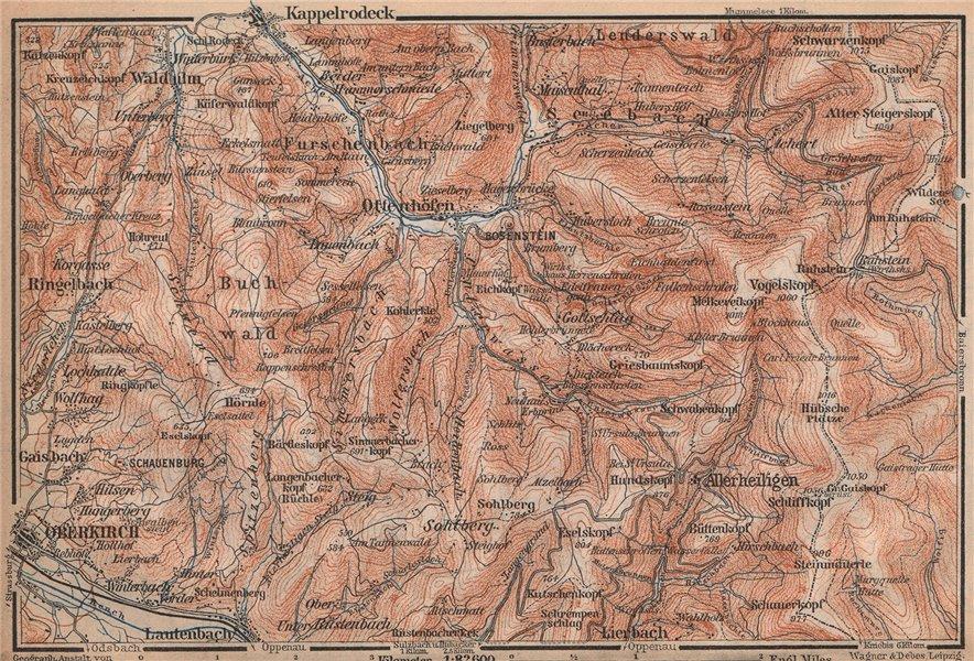 Associate Product SCHWARZWALD. BLACK FOREST. Oberkirch Ottenhöfen Kloster Allerheiligen 1896 map