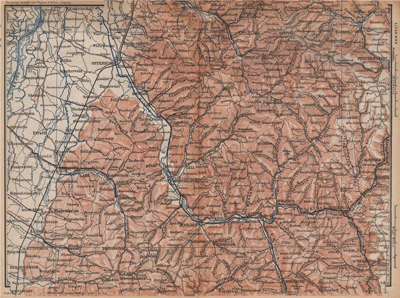 Associate Product MITTEL SCHWARZWALD. CENTRAL BLACK FOREST. Offenburg Wolfach Schramberg 1896 map