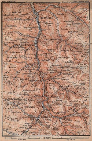 Associate Product TRIBERG & HORNBERG umgebung. Schwarzwald Wasserfälle Baden-Württemberg 1896 map