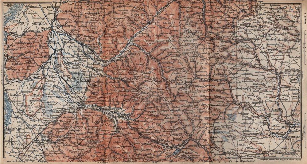 SÜDSCHWARZWALD. SOUTHERN BLACK FOREST. Freiburg Villingen. Germany 1896 map