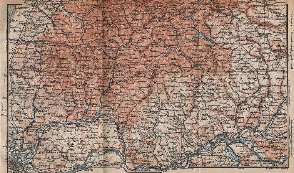 Associate Product SÜDSCHWARDWALD. BLACK FOREST SOUTHERN VALLEYS. Basel Lörrach Schopfheim 1896 map