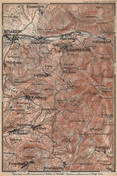 Associate Product BADENWEILER environs. Müllheim Markgräflerland Blauen Schwarzwald 1896 old map