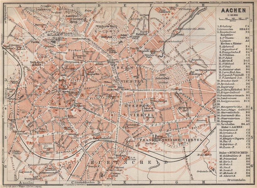 Associate Product AACHEN town city stadtplan. Northrhine-Westfalia. Aix-la-Chapelle 1926 old map