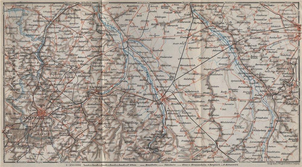 Associate Product AACHEN DÜREN RHEIN-ERFT-KREIS KÖLN Rur Northrhine-Westfalia Eisenbahn 1926 map