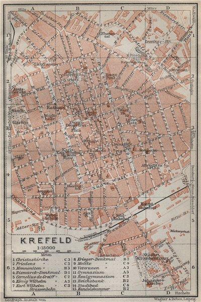 KREFELD town city stadtplan. Northrhine-Westfalia. Crefeld karte 1926 old map