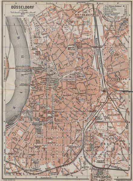Associate Product DÜSSELDORF town city stadtplan. Northrhine-Westfalia. Dusseldorf karte 1926 map
