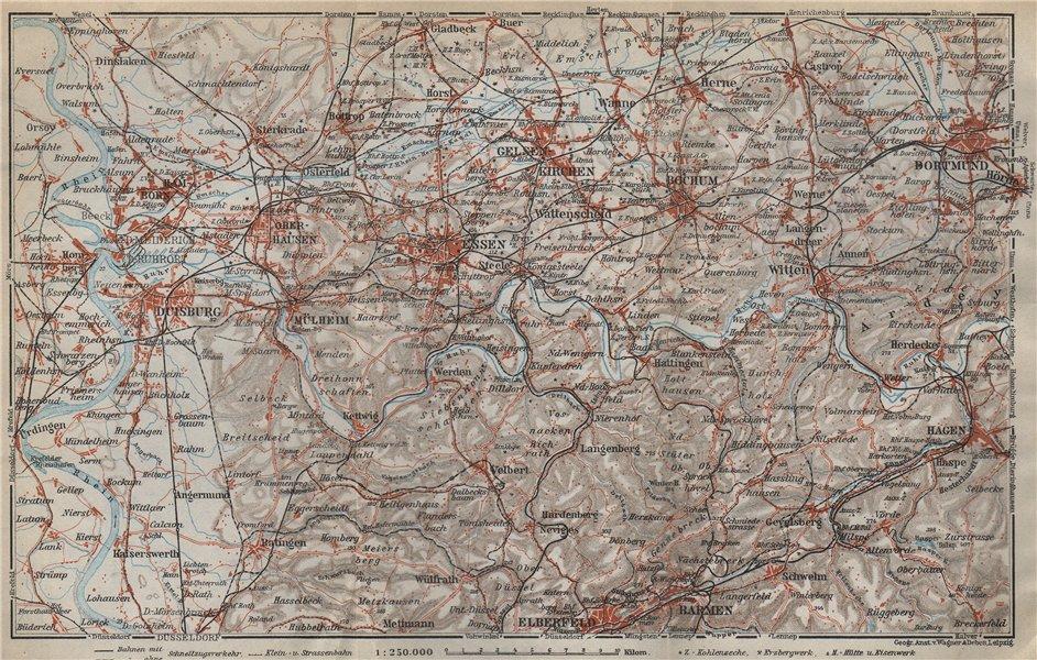 Associate Product RUHRGEBIET Eisenbahnen RUHR VALLEY Duisburg EssenBochumHerneDortmund 1926 map