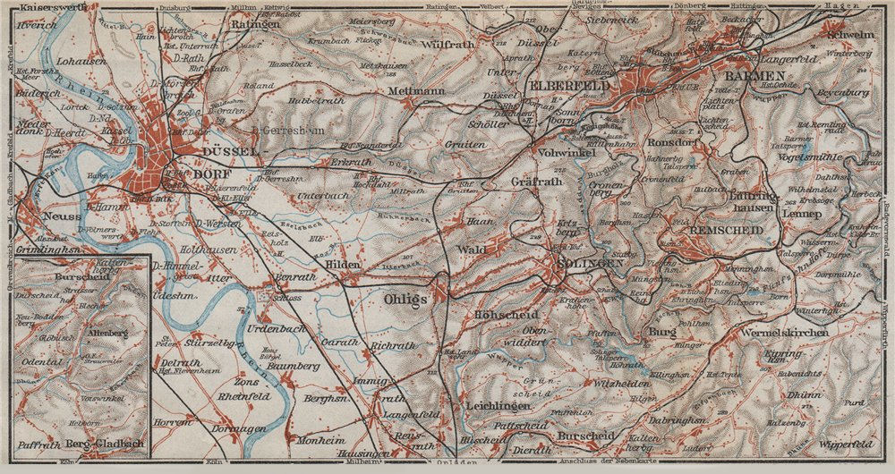 DÜSSELDORF & WUPPERTAL. Elberfeld & Barmen. Remscheid Solingen karte 1926 map