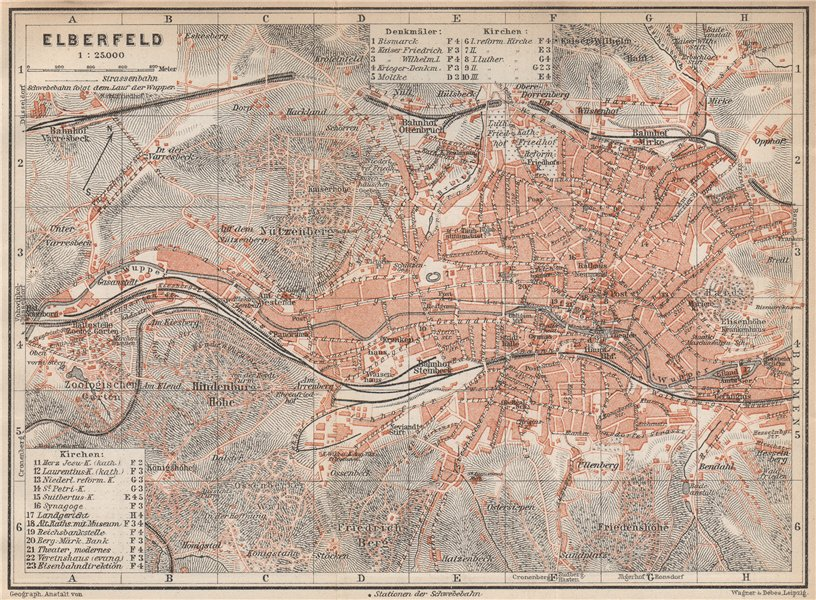 Associate Product ELBERFELD / WUPPERTAL  vintage town city stadtplan. Germany karte 1926 old map