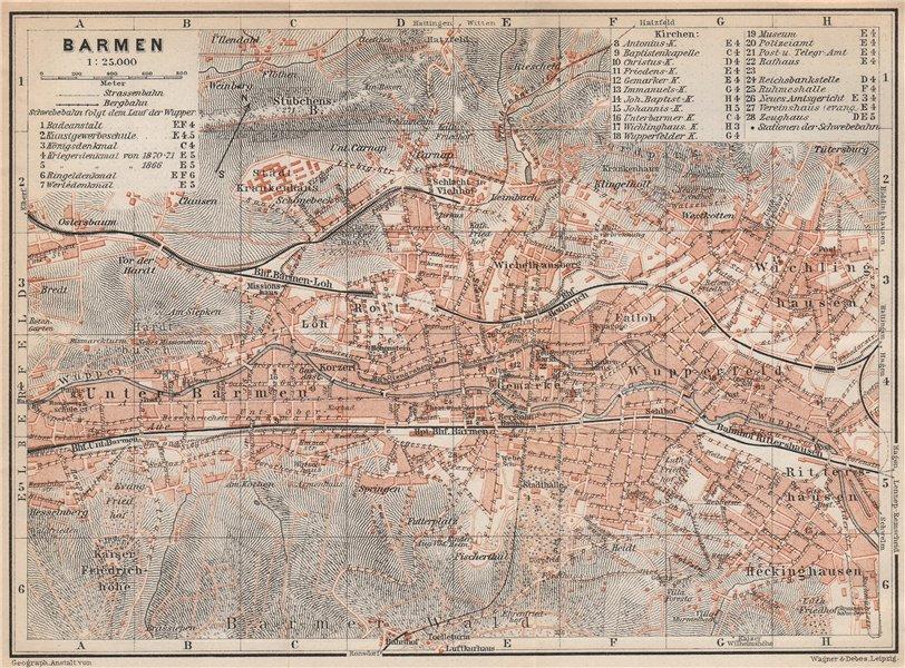 Associate Product BARMEN / WUPPERTAL vintage town city stadtplan. Germany karte 1926 old map