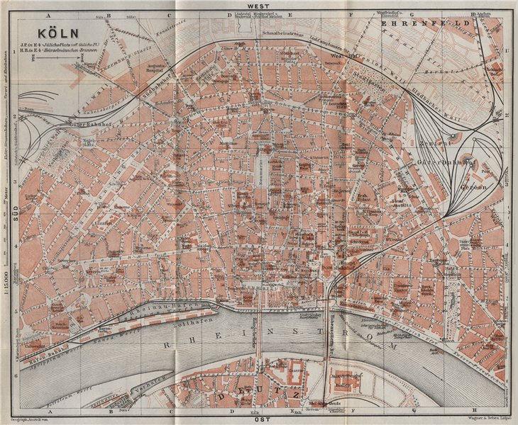 Associate Product KÖLN (COLOGNE) town city stadtplan. Northrhine-Westfalia. Koln karte 1926 map
