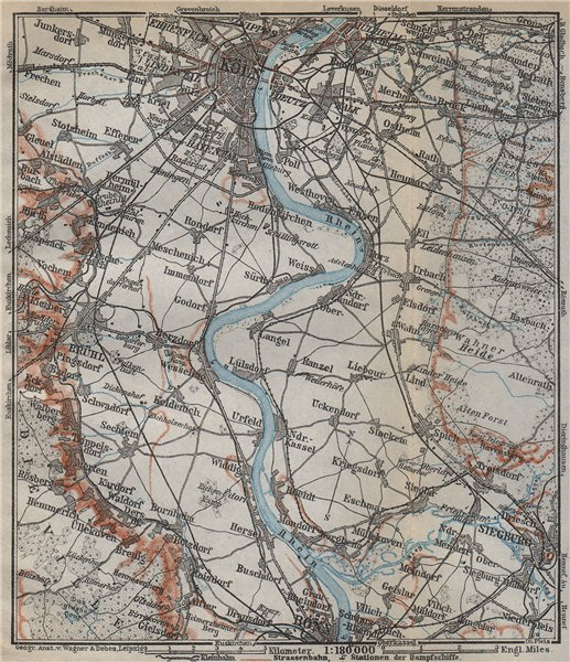 Associate Product THE RHINE/RHEIN from/von COLOGNE KÖLN to/nach BONN. Deutschland karte 1926 map