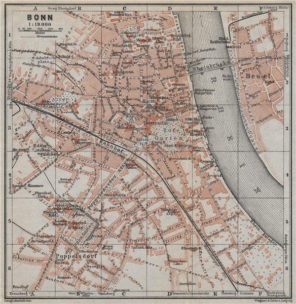 Associate Product BONN vintage town city stadtplan. Northrhine-Westfalia karte. BAEDEKER 1926 map