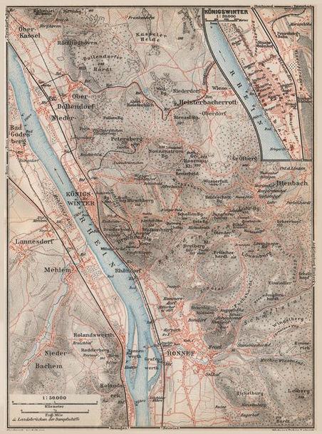 SIEBENGEBIRGE Seven Hills Königswinter Bad Honnef Northrhine-Westfalia 1926 map