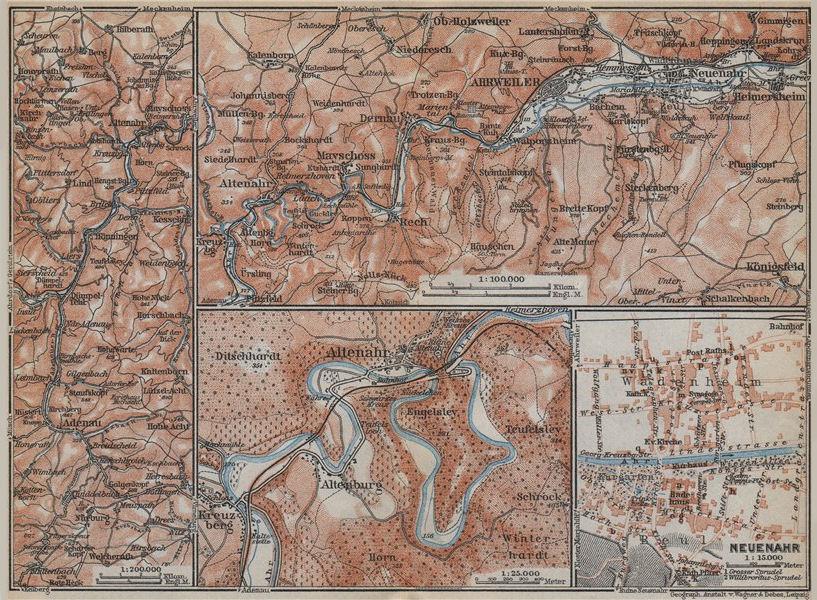 Associate Product AHRTAL. NEUENAHR town city stadtplan. Adenauer Bach. Altenahr Ahrweiler 1926 map
