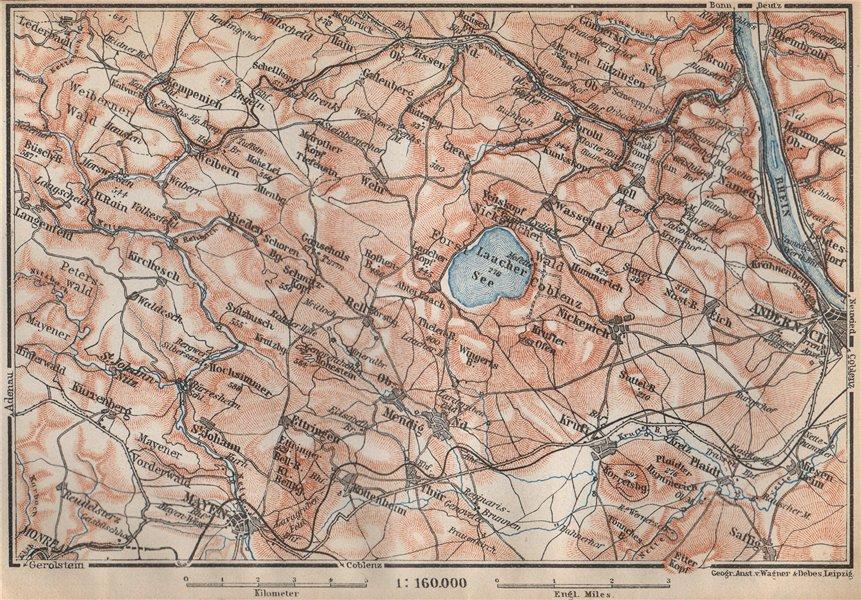 Associate Product LAACHER SEE. Vulkaneifel topo-map Andernach Mayen Rhineland-Palatinate 1926