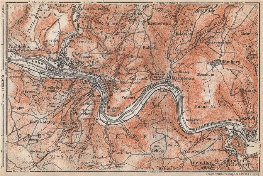 Associate Product BAD EMS & NASSAU environs. Dausenau Lahn. Deutschland karte. BAEDEKER 1926 map