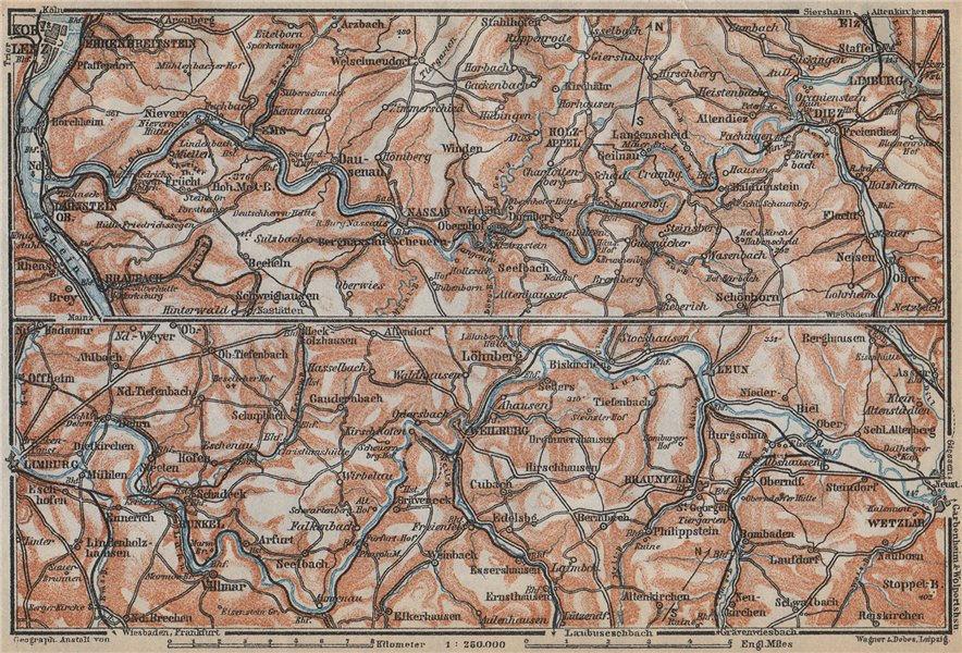 Associate Product LAHNTAL VALLEY. LahnsteinKoblenz Wetzlar Limburg WeilburgBad Ems 1926 map