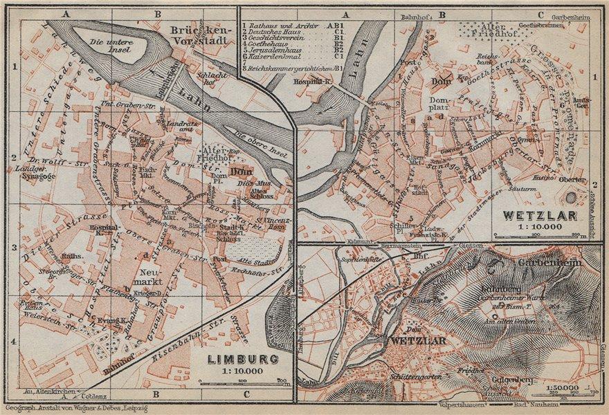 WETZLAR & LIMBURG AN DER LAHN town city stadtplan. Hessen karte 1926 old map