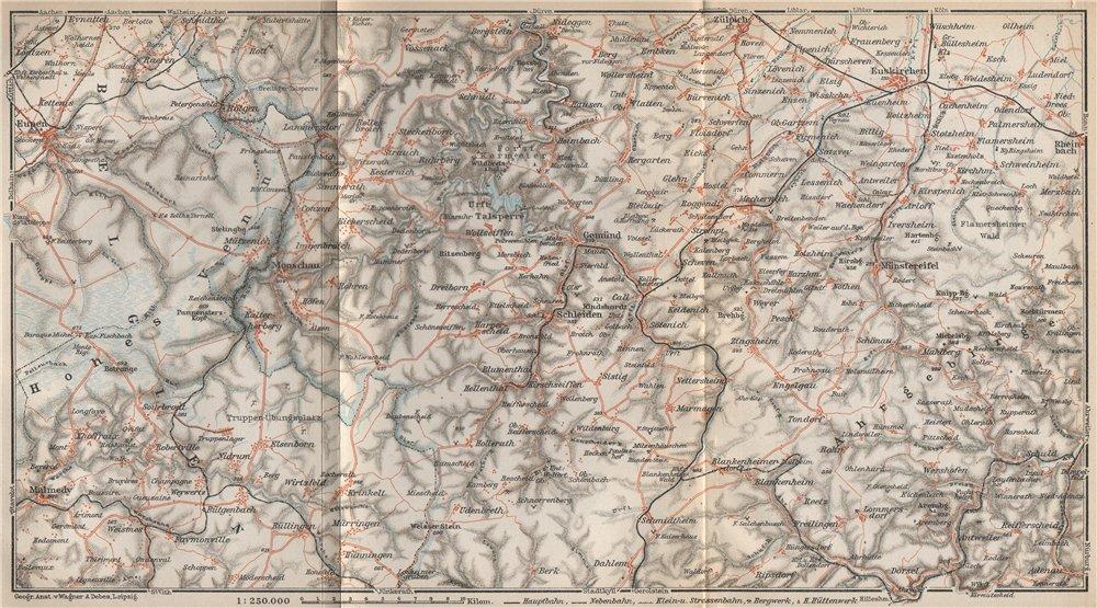 Associate Product NORDEIFEL NORTH EIFEL. Urfttalsperre Gemünd Zulpich Euskirchen karte 1926 map