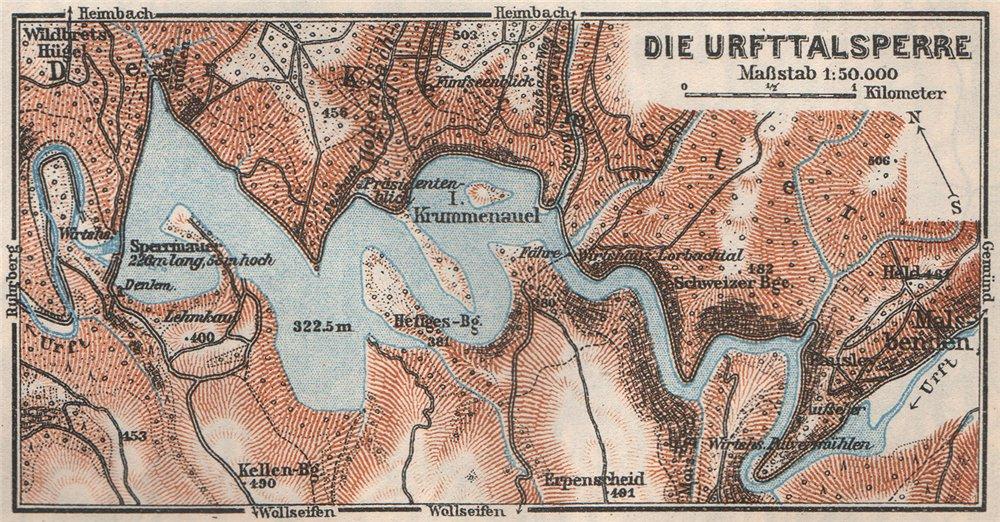 Associate Product URFTTALSPERRE URFT DAM Nordeifel North Eifel Nordrhein-Westfalen. SMALL 1926 map