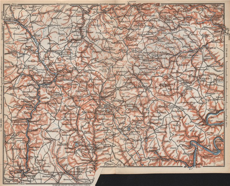 Associate Product VULKANEIFEL. THE VOLCANIC EIFEL topo-map. Gerolstein. Germany karte 1926