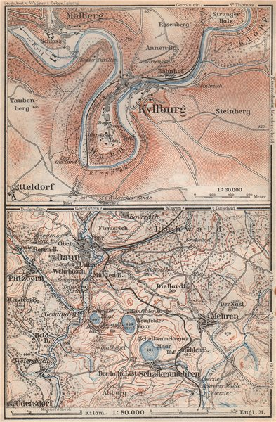 Associate Product KYLLBURG & DAUNER MAARE. Malberg Schalkenmehren. Rhineland-Palatinate 1926 map