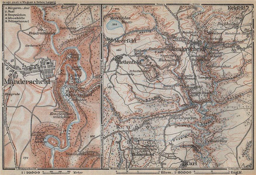 Associate Product MANDERSCHEID umgebung. Meerfelder Maar Bettenfeld Rhineland-Palatinate 1926 map