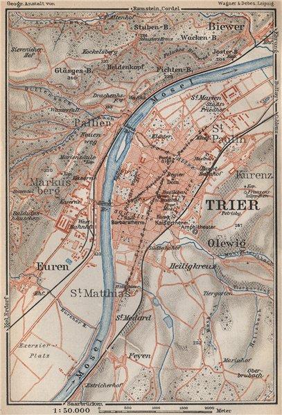 Associate Product TRIER ungebung. Euren Biewer Pallien Markusberg. Trèves Tréier Treves 1926 map