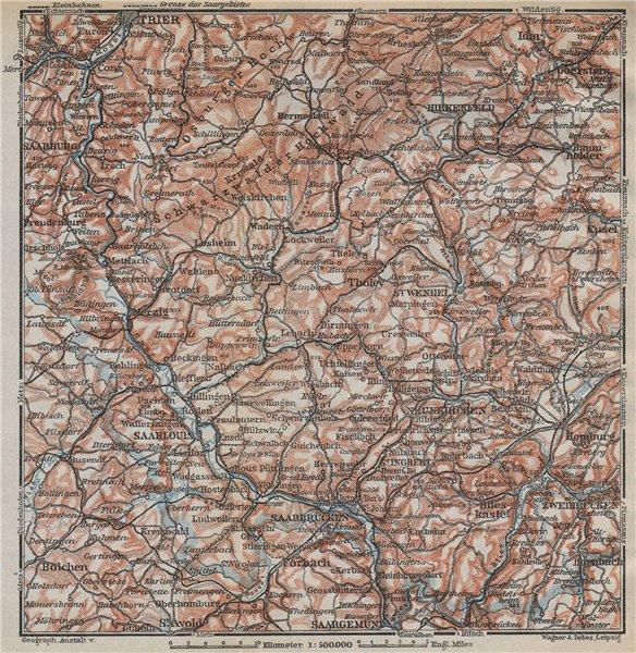 Associate Product SAAR SARRE RIVER VALLEY. Trier Saarbruckem Saarlouis Saarburg karte 1926 map