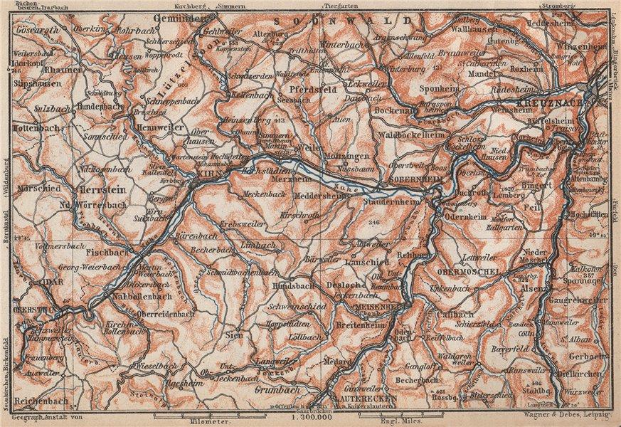 Associate Product NAHETAL. Idar-Oberstein Kirn Monzingen Rüdesheim Kreuznach Sobernheim 1926 map