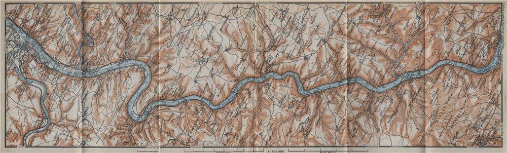 Associate Product RHINE/RHEIN. KOBLENZ-BINGEN Oberes Mittelrheintal Rhine Gorge topo-map 1926