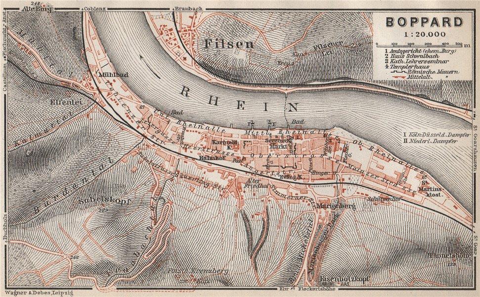 BOPPARD town city stadtplan. Rhineland-Pflaz, Deutschland. Rhine Gorge 1926 map