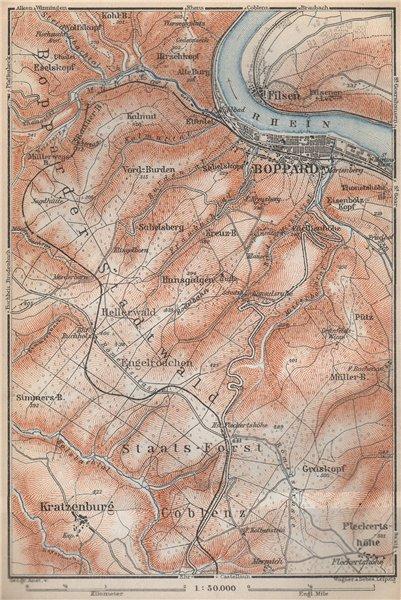 Associate Product BOPPARDER STADTWALD environs. Oberes Mittelrheintal. Rhine Gorge karte 1926 map