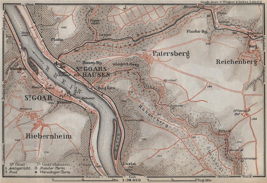 Associate Product SANKT GOAR & ST GOARSHAUSEN. Oberes Mittelrheintal. Rhine Gorge karte 1926 map