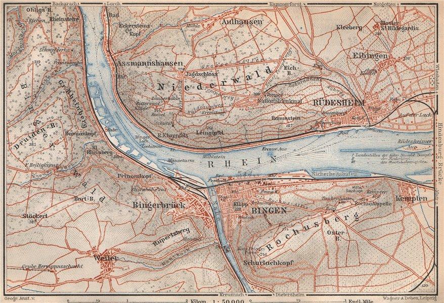 Associate Product RÜDESHEIM BINGEN. Niederwald. Oberes Mittelrheintal. Rhine Gorge karte 1926 map