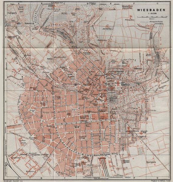 Associate Product WIESBADEN vintage town city stadtplan. Hessen karte. BAEDEKER 1926 old map