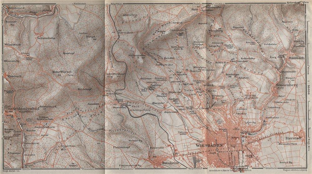 Associate Product WIESBADEN umgebung environs. TAUNUS mountains. Hessen karte. BAEDEKER 1926 map