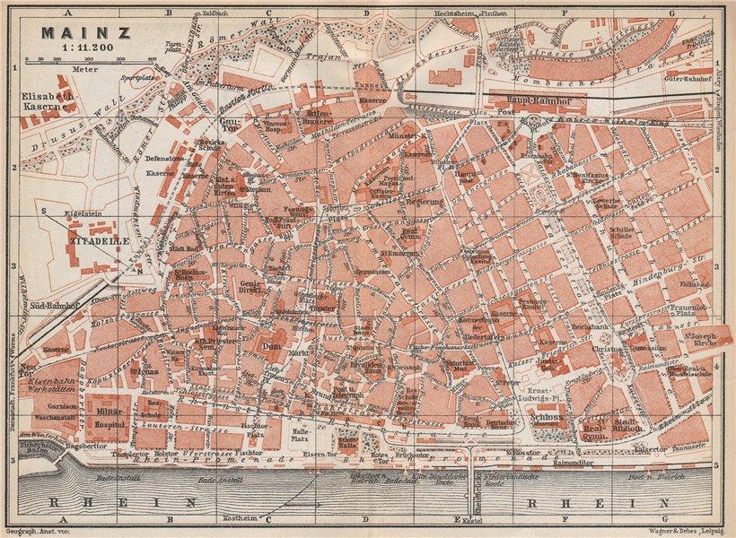 Associate Product MAINZ vintage town city stadtplan. Rhineland-Palatinate. Mayence karte 1926 map