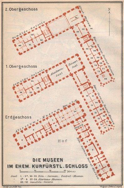 Associate Product Kurfürstliche Schloss MAINZ floor plan. Mayence. Rhineland-Palatinate 1926 map