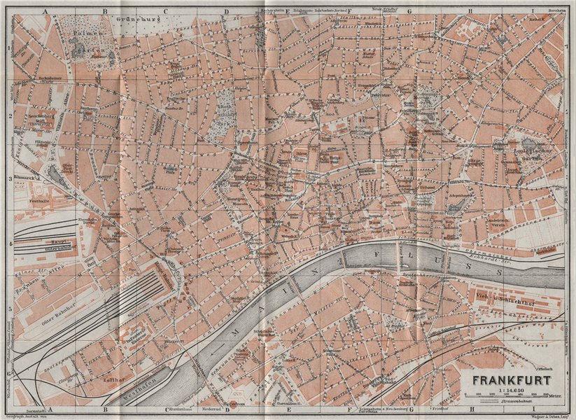 Associate Product FRANKFURT AM MAIN vintage town city stadtplan. Hessen karte. BAEDEKER 1926 map