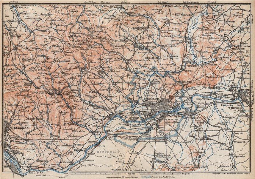 Associate Product TAUNUS Mountains. Wiesbaden Frankfurt am Main Hanau. Deutschland karte 1926 map