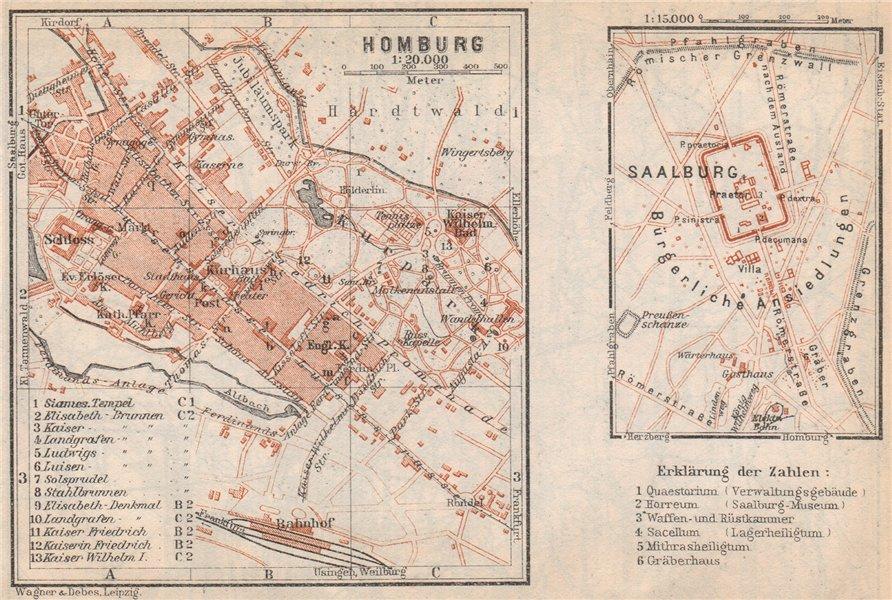 Associate Product BAD HOMBURG VOR DER HÖHE town city stadtplan. Saalburg. Hesse karte 1926 map