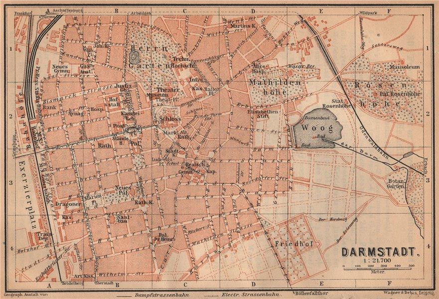 Associate Product DARMSTADT vintage town city stadtplan. Hessen karte. BAEDEKER 1926 old map