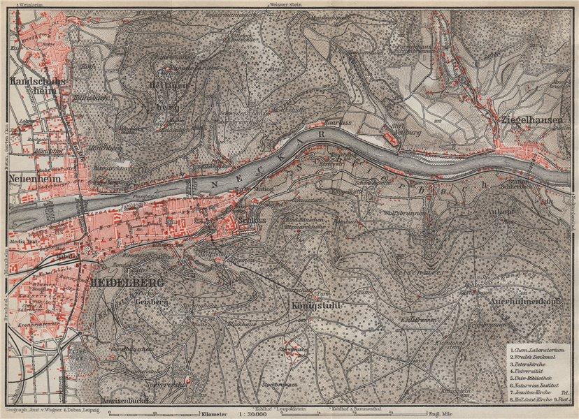 HEIDELBERG & environs ungebung. Ziegelhausen. Baden-Württemberg karte 1926 map