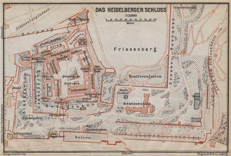 Associate Product HEIDELBERGER SCHLOSS Castle. Ground plan. Baden-Württemberg karte 1926 old map