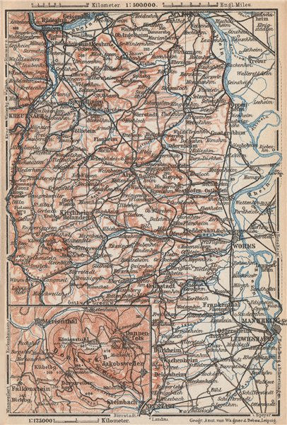 Associate Product RHEINHESSEN. RHENISH HESSE. Mainz Mannheim Worms Kreuznach. Germany 1926 map