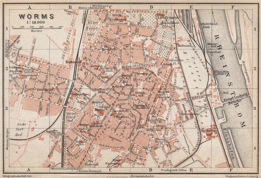 Associate Product WORMS town city stadtplan. Rhineland-Palatinate, Deutschland karte 1926 map